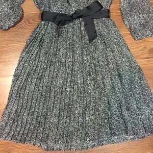 Daniel Rainn Dresses - DR2 black and white pleated long sleeve dress